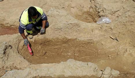 Un dels últims esquelets trobats al parc de Santa Cecília.
