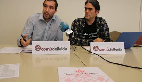 Roda de premsa dels regidors del Comú el 9 de maig.