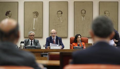 El fiscal general, ahir, en la compareixença davant la Comissió de Justícia del Congrés.