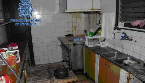 Imatge de la cuina on vivien els boxejadors.