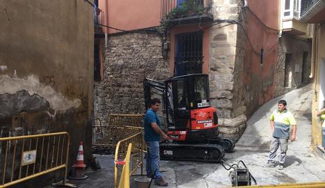 Les obres al centre històric de Fraga.