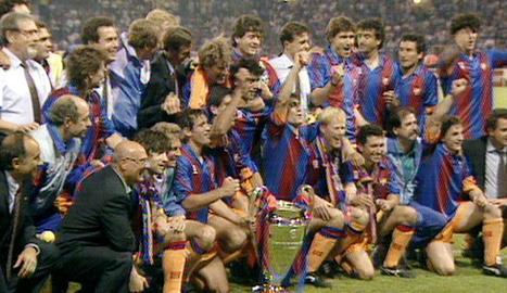 La celebració dels blaugranes el 20 de maig del 1992 a Wembley.