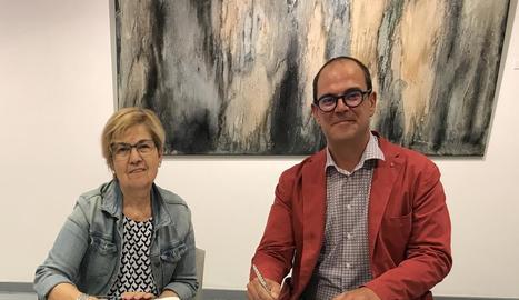 Parra i Marí van firmar ahir el conveni a la Fundació Vallpalou.