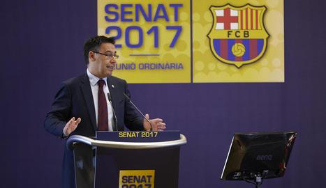 El president blaugrana Josep Maria Bartomeu, ahir durant la intervenció davant del Senat del club.