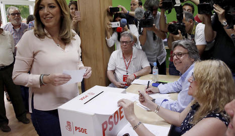 Pedro Sánchez, ahir, després de guanyar i tornar a recuperar la secretaria general del PSOE.