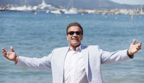 L'actor Arnold Schwarzenegger, ahir a Canes.