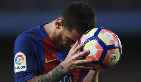 Messi, amb un expressiu gest durant el partit d'ahir davant de l'Eibar.