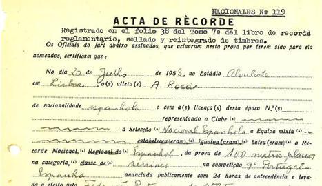 Acta d'homologació del rècord d'Espanya que Armando va batre el 1958.