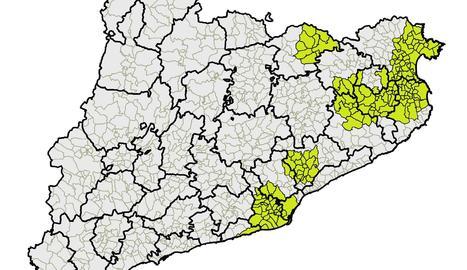 Mapa de municipis amb aplicació de mesures de bioseguretat