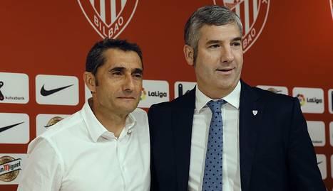Valverde, ahir amb Josu Urrutia, president de l'Athletic.