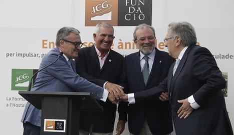 Àngel Ros, Andreu Pi, Joan Reñé i Antoni Siurana, ahir a la presentació de la Fundació ICG.