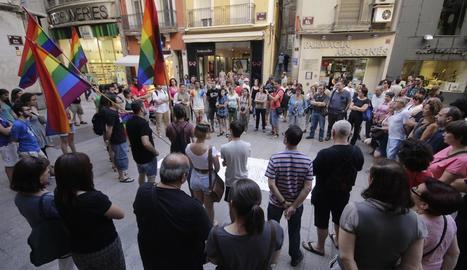 Imatge d'arxiu d'una protesta contra l'homofòbia convocada per entitats lleidatanes.