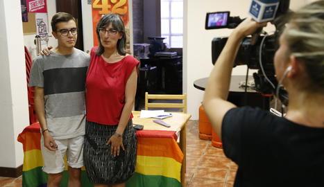 Concentració d'estudiants dimecres passat a les portes de l'institut Gili i Gaya de Lleida.