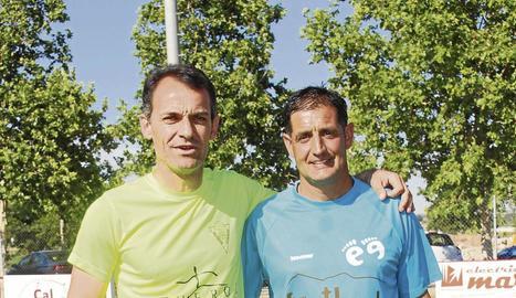 Tenorio i Casals, amb els colors dels seus actuals equips, el Vallfogona i el Térmens.