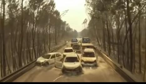 VÍDEO. La carretera de la mort de l'incendi de Portugal, a vista de dron