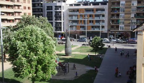 Una vista de la plaça de l'Escorxador de Lleida.