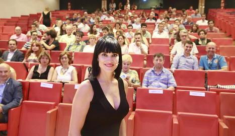 Irene Villa, ahir, abans d'oferir una conferència a la Llotja.