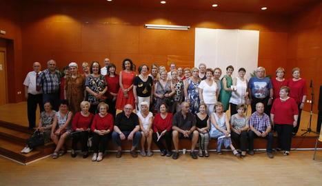Integrants de la Vocalia de la Dona, ahir, durant la celebració.