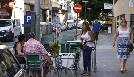 La terrassa d'un local hoteler de la ciutat de Lleida.