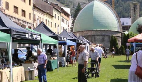 El mercat de la Fira Gust, que es va celebrar ahir a la capital de l'Alta Ribagorça.