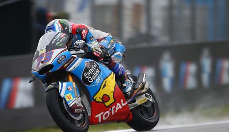Marc Màrquez, durant la sessió de qualificació al circuit d'Assen, on va firmar la segona posició darrere del 'rookie' Zarco.