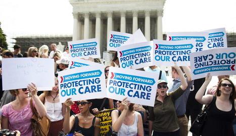 Imatge d'una protesta contra la retallada sanitària de Trump.