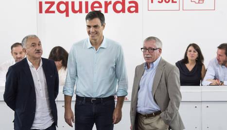 Sánchez es va reunir ahir amb els dirigents d'UGT i CCOO.