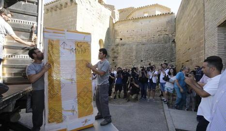 L'arribada de les obres del MNAC al monestir de Sixena, el 26 de juliol del 2016, va despertar una gran expectació mediàtica.