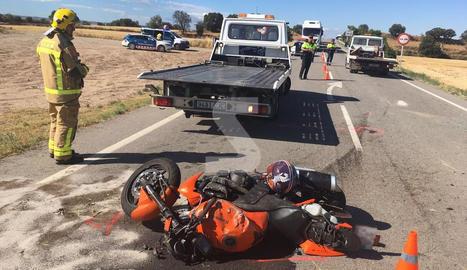 Una imatge de l'accident mortal d'aquest dimecres a l'L-310 a la Segarra.