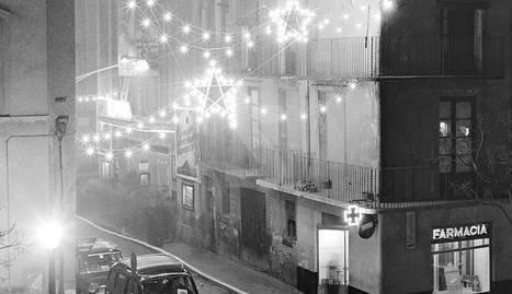 Inici del carrer Sant Antoni de Lleida de nit (1962).