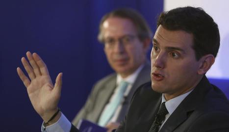 Albert Rivera, ahir en l'acte en què va explicar els detalls del pacte.