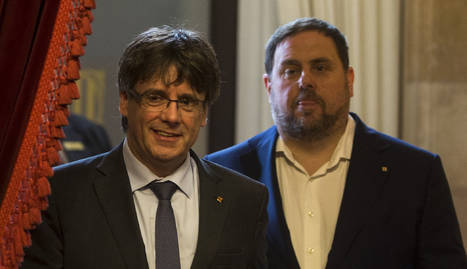 Carles Puigdemont i Oriol Junqueras, ahir al Parlament.