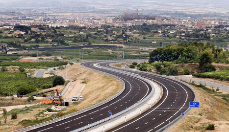 El nou tram de l'autovia A-14 entre Lleida i Rosselló.