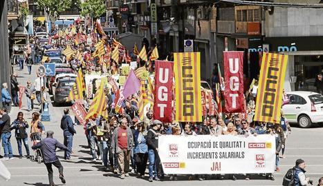 Imatge de la manifestació del Primer de Maig en defensa de l'ocupació de qualitat a Lleida.