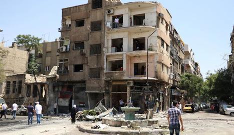 Imatge d'un edifici destruït després d'un atac a Damasc.