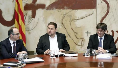 Jordi Turull, Oriol Junqueras i Carles Puigdemont.
