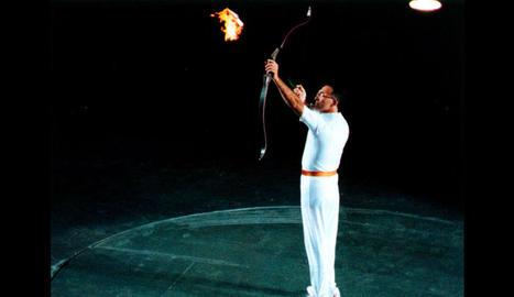 Rebollo, en el moment d'encendre el peveter el juliol del 1992.