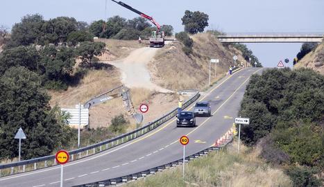 Les obres a l'accés de Palou, a Torrefeta i Florejacs, que van començar ahir.