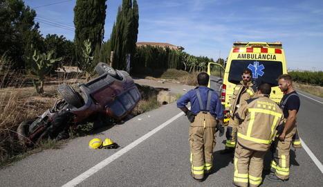Imatge de les retencions quilomètriques generades per l'accident de Bellpuig.