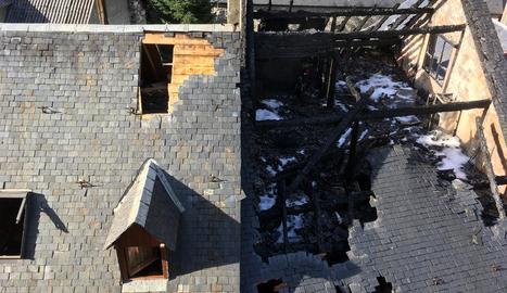 Les flames van arrasar la teulada i les bigues de l'edifici, situat en ple centre de la capital de l'Aran.