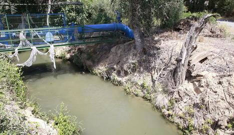 Vista del canal al costat del riu Segre on es va produir l'accident mortal dissabte a la tarda.