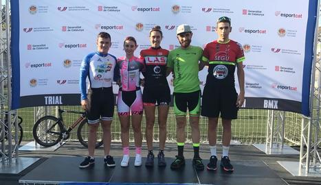Els corredors lleidatans que van participar en el Català de pista.