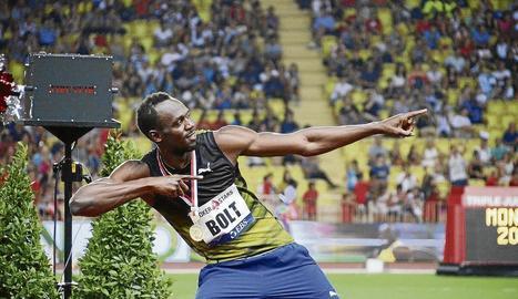 Usain Bolt celebra el seu últim triomf a Mònaco.