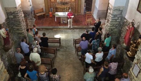 Acte d'inauguració del repic de les campanes per donar les hores a l'església de Sant Serni.