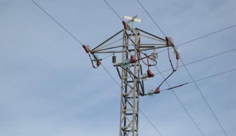 Una línia elèctrica amb proteccions per a les aus.
