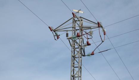 Una de les torres elèctriques dels Alamús que s'han protegit.