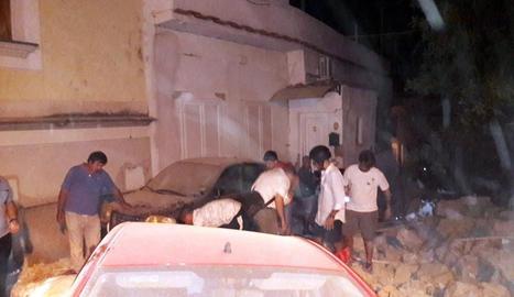 Imatge de destrosses causades pel sisme.