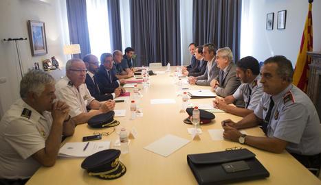 Reunió ahir entre Mossos, conselleria d'Interior, Guàrdia Civil i Policia Nacional.