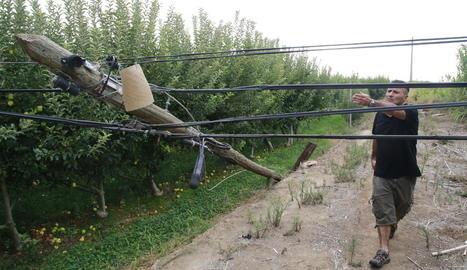 Jordi Moset mostra el pal de telèfon caigut en una finca que provoca avaries constants.