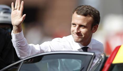 Imatge del president de la República Francesa, Emmanuel Macron, que fa tres mesos que està en el càrrec.